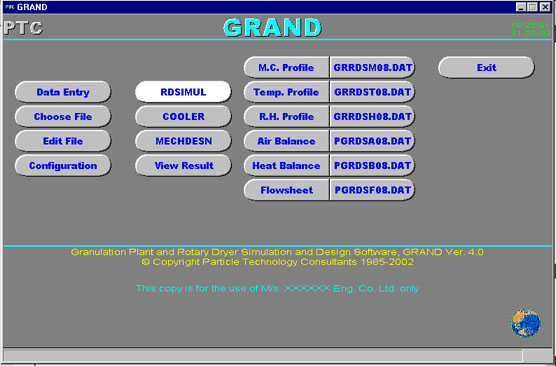 The image shows the opening menu of GRAND.  You can see all the various options available to get an idea of the features of the software.